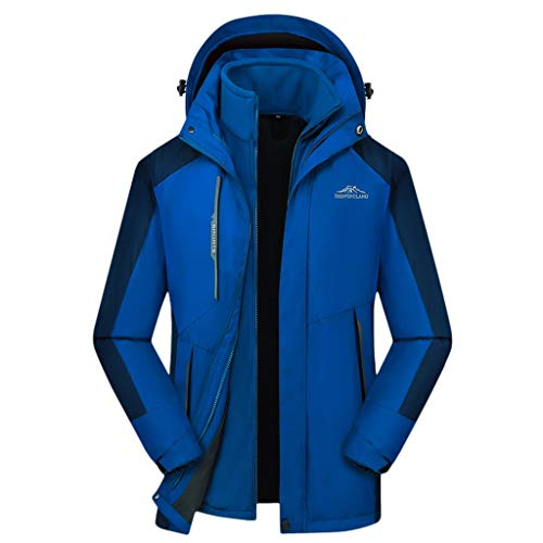 Save %26 Now! Men Winter Jackets with Hooded Waterproof Hoodie Detachable Breathable Sport Two-Piece...