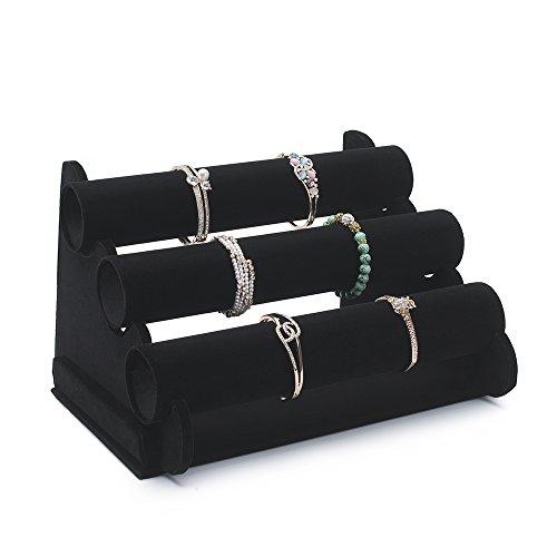 TWING 3 - Soporte para pulsera de terciopelo negro con soporte para reloj y joyería