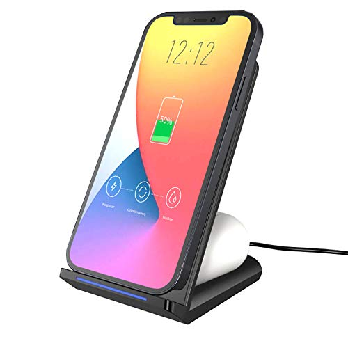 2 in 1 Wireless Charger Stand,15W Qi-Certified Wireless Charging Stand,Best Wireless Charger for iPhone 12,12 Pro,11;Fast Wireless Charger Android;Wireless Phone Charger,Wireless Charging Station