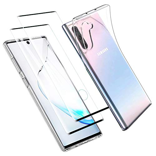 Zsmzzd Coque Samsung Galaxy Note 10, avec Verre Trempé Protection d'écran, Antichoc Transparent Silicone TPU Bumper étui Souple Housse + 2 Pcs Protecteur écran pour Samsung Galaxy Note 10