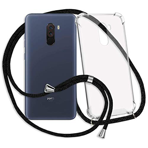 mtb more energy® Handykette kompatibel mit Xiaomi Pocophone F1 (6.18'') - schwarz - Smartphone Hülle zum Umhängen - Anti Shock Strong TPU Hülle