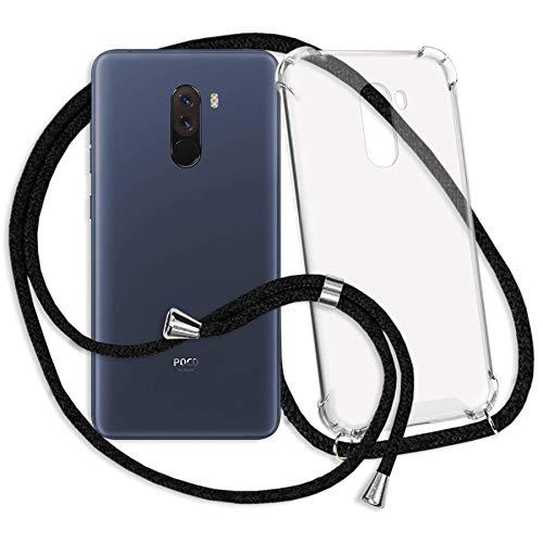 mtb more energy® Handykette kompatibel mit Xiaomi Pocophone F1 (6.18'') - schwarz - Smartphone Hülle zum Umhängen - Anti Shock Strong TPU Case