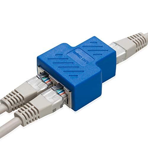 COVVY RJ45 Connettore Femmina Femmina Splitter Rete Adattatore 1-2 Donne Porto Cat 5 / Gatto 6 LAN Cavo Ethernet Doppio Connettore Adattatore Socket (1Pcs, Blue)