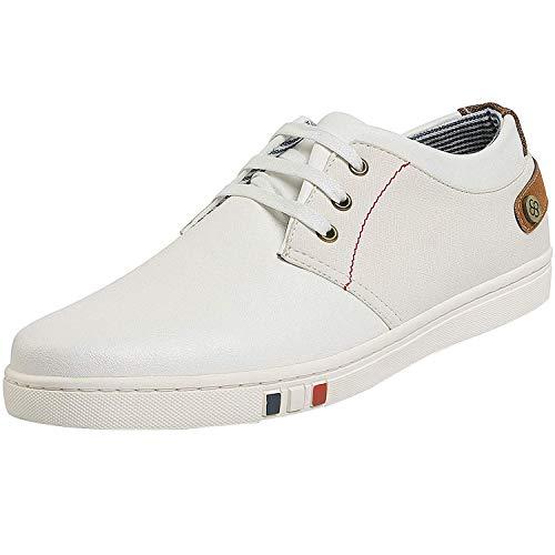 Bruno Marc NY-03 Hombre Zapatillas de Cordones Casual Cómodo Zapatos Blanco 45 EU/11 US