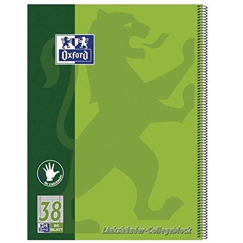 Oxford 100050405 Collegeblock für Linkshänder Lineatur 38 - A4+, 80 Blatt, 90 g/qm, 4-fach Lochung