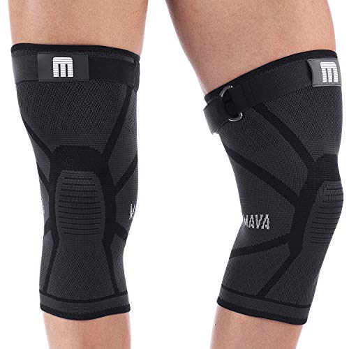 Mava Sports Knee Compression Sleeve Support with Adjustable Strap for Men and Women - Perfect for Powerlifting, Weightlifting, Running, Gym Workout, Squats and Pain Relief (Active Black, XX-Large)
