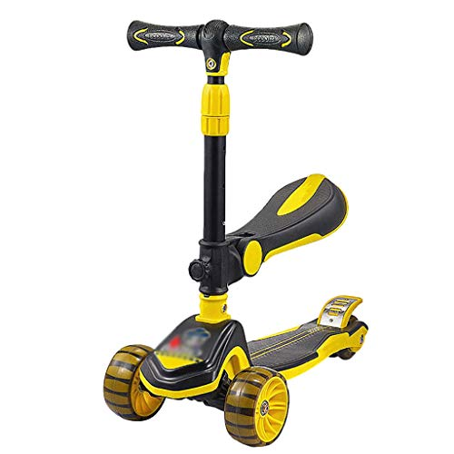 ZHIHUI Scooter Patinete Scooter de Niños Pequeños para Niños Y Niñas de 1 A 12 Años De Edad, Ruedas de PU Parpadeantes con Asientos Móviles Altura Ajustable Scooter (Color : Yellow)
