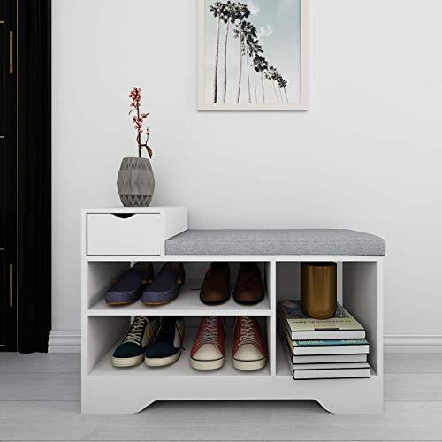YEEGO Banco de zapatero blanco Unidad de almacenamiento para pasillo de 80 x 30 x 52 cm