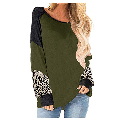 Buy Cheap Muranba Womens Tops Long Sleeve Round Neck Leopard Sweatshirts Pullover Top Blouse