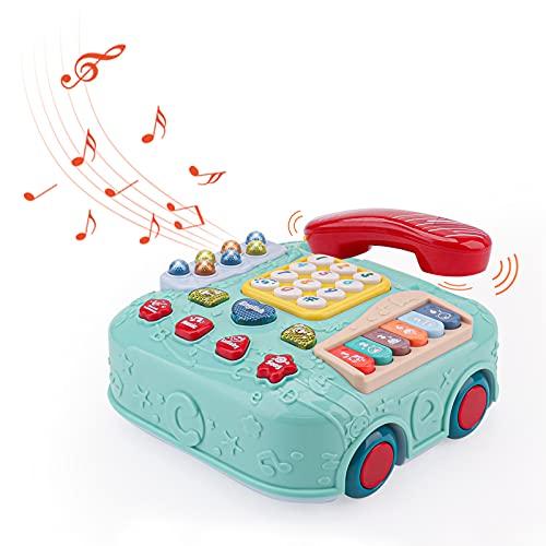Amy & Benton 5 en 1 teléfono de juguete para bebé de 12 a 18 meses, coche musical para niños pequeños de 1 año en adelante, teléfono de arrastre para niños de 1 2 3 años