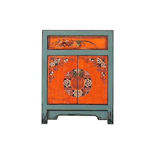 HLR Nattduksbord nattduksbord bord sidobord sängbord kinesisk retro gammalt slitet massivt trä kviltat vardagsrum litet skåp montering sidoskåp hörnskåp (färg: B)