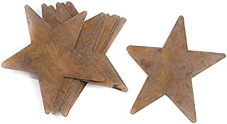 Factory Direct Craft Set of 12 Rusty Tin Primitive Star Cutouts with Flat Backs for Displaying, Crafting and Creating   5