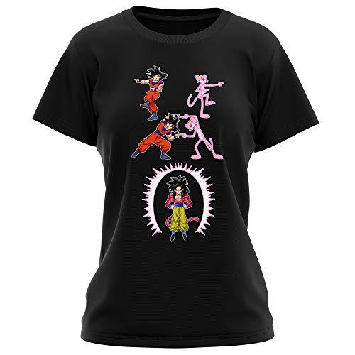 Okiwoki T-Shirt Femme Noir Dragon Ball GT Panthère Rose parodique Sangoku 4 et la Panthère Rose : L'être Le Plus Puissant de l'univers !! (Fusion !!) (Parodie Dragon Ball GT Panthère Rose)