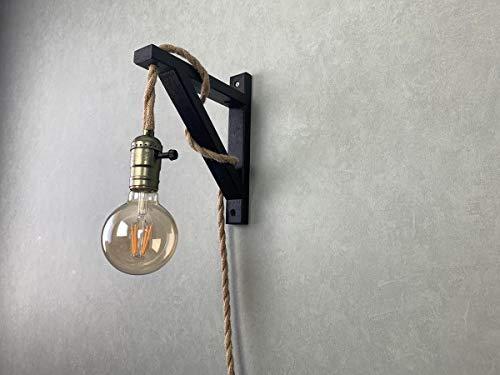 Wandlamp met touw zwart/touwlamp