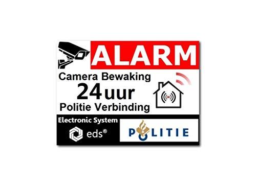 Egero – 8 pegatinas disuasorias, alarma de videovigilancia, policía, protección antirrobos para edificios residenciales, comercios, etc. Pegatina de alarma para videovigilancia profesional (policía)