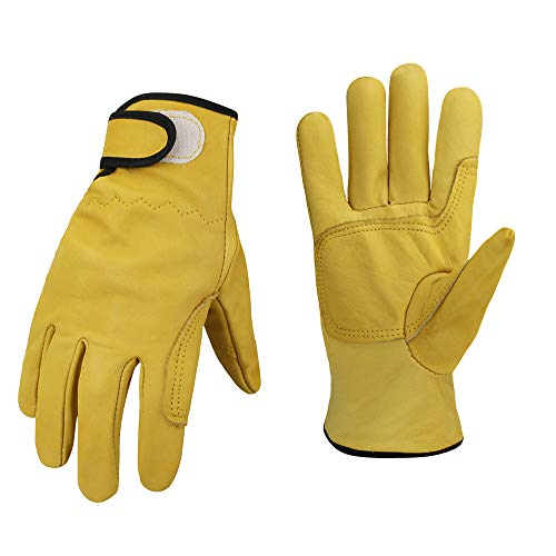 Cowhide Leather Shooting Gloves for industrial production/Riding/Driving/Gardening/Farm Hunting Gloves - Extremely Soft and Sweat-absorbent (Large)