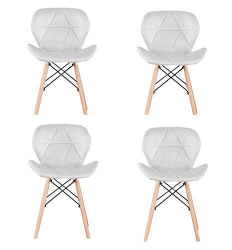 Sweethome Esszimmerstühle, 4er-Set, Mitte-des-Jahrhunderts-/Retro-Look, modern, Küche, gepolstert, Leder, gebogen, für Wohnzimmer