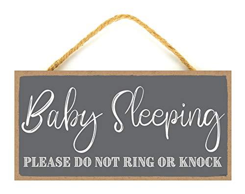 Baby Sleeping Sign - Baby Sleeping Sign Front Door 5 x 10 inches - Do Not Ring Doorbell Sign Baby Sleeping - Shhh Sleeping Baby (Dark Gray Background)