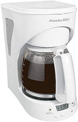 Proctor Silex Easy Morning Independiente Semi-automática Drip coffee maker 12cups Blanco - Cafetera (Independiente, Cafetera de filtro, De café molido, Blanco)