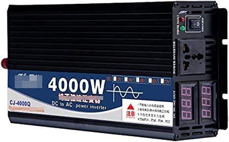 Inversor de energía de onda sinusoidal pura de 4000W DC 12V / 24V / 48V / 60V a AC 110V / 220V 1 enchufe universal y pantalla digital dual para automóvil, caravana, barco, camping, viajes (Color: 12v