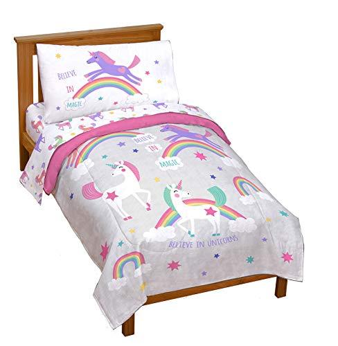 Jay Franco Trend Collector Believe 4 Piece Toddler Bed Set - Includes Comforter & Sheet Set - Super Soft Fade Resistant Microfiber Bedding