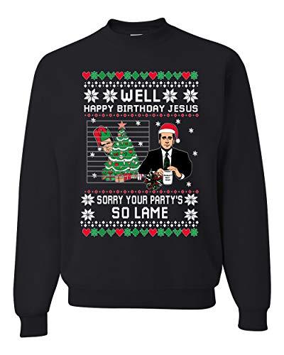 Well Happy Birthday Jesus Funny Quote Office Ugly Christmas Sweater Unisex Crewneck Graphic Sweatshirt, Black, X-Large
