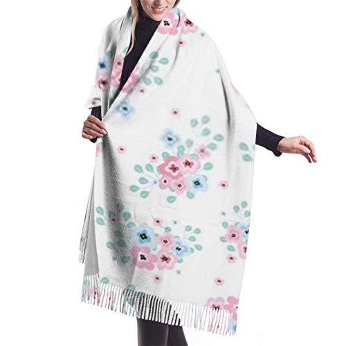 Manta, Bufanda con Flecos, Tapiz, Accesorios de Vestidos, Fondo de patrón Floral Transparente, Flores pequeñas, Chal cálido Premium