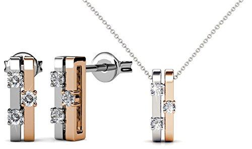 Yolora sieraden set met Swarovski kristallen - Oorbellen met ketting - Zilver- en goudkleurig - Dames geschenkset - oorstekers en hanger - YO-014