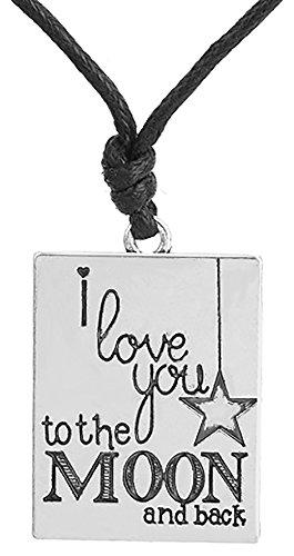 Collier avec médaille de chien gravée « I Love You to the Moon » - Cadeau pour femme et homme (pweter)