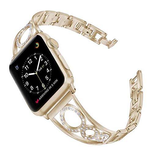 QINJIE Bandas de Acero Inoxidable compatibles con Apple Watch Women Rhinestone Link Band Accesorios Correa de Pulsera,Vintage Gold,40mm