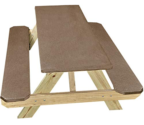 Mainstream International Elastic Stretch Picnic Table Cover with Seat Covers - Chocolate - 3 Pieces