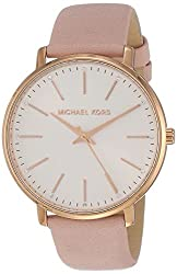 powerful Michael Kors Ladies Quartz Watch, Stainless Steel with Calfskin Strap, Pink, 18 (Model:…