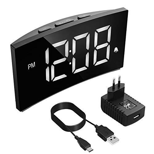 """PICTEK Digitaler Wecker, Digitaluhr, Reisewecker,5"""" LED-Display, Randlos Kurve, Dimmer, Snooze, 12/24 Stundenanzeige, 3 Alarmtöne, Naturgeräusche, USB-Stromanschluss -Weiß (mit Netzteil)"""