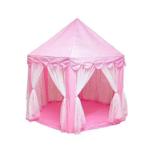 N / B Princess Tent Girls Girls Hexagon Playhouse Kids Castle Play, Lights Star Lights Toy Indoor Outdoor Games, para Juegos imaginativos y fingidos, Rosa