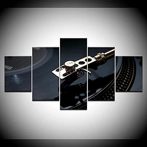 cuadro en lienzo impresión de 5 piezas - Enmarcado y listo para colgar DJ tocadiscos clásico nostálgico tocadiscos decoración del hogar decoración de la pared obra de arte 150x80 cm