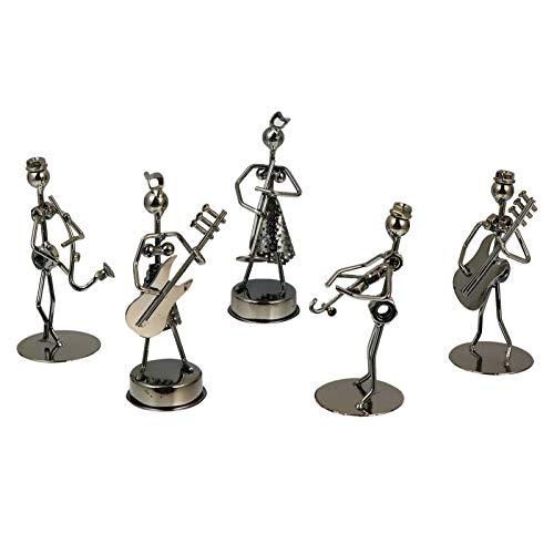 GARNECK Pequeño Arte de Hierro Músico Banda de Música Manualidades Decoración de Escritorio de Oficina en Casa Figuras de Música Rock Vintage 5 Uds