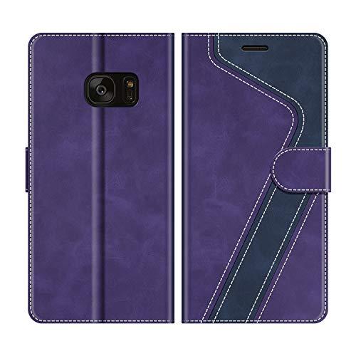 MOBESV Funda para Samsung Galaxy S7 Edge, Funda Libro Samsung S7 Edge, Funda Móvil Samsung Galaxy S7 Edge Magnético Carcasa para Samsung Galaxy S7 Edge Funda con Tapa, Violeta/Azul Oscuro