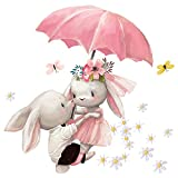 Little Deco Wandtattoo Babyzimmer Hasen & Regenschirm I Wandbild 66 x 58 cm (BxH) I Blumen Aufkleber Kinderzimmer Mädchen Wandsticker Baby Mädchenzimmer DL601