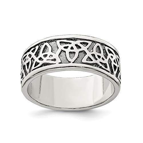 Solid 925 Sterling Silver Men's Antiqued Celtic Knot Wedding Band Ring (9mm)
