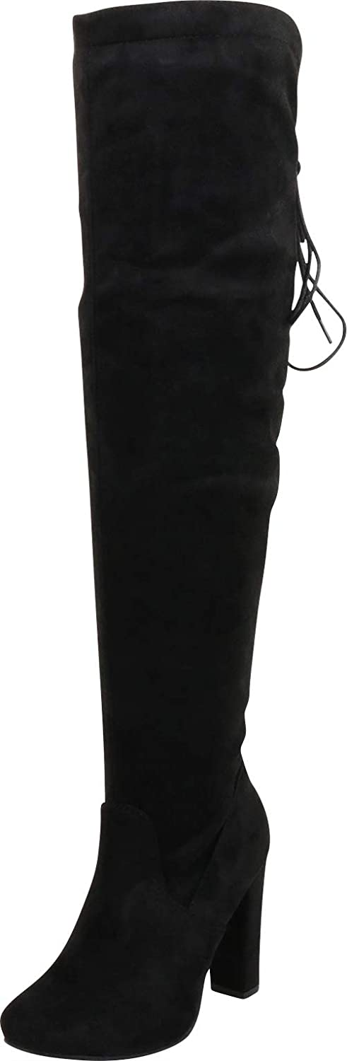 Cambridge Select Women's Back Lace Corset Chunky High Heel Thigh-High Over The Knee Boot