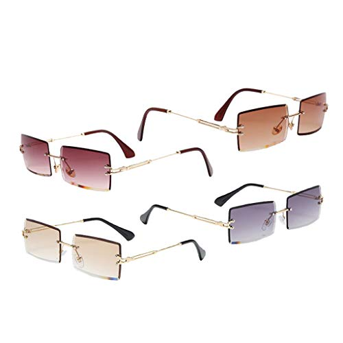 freneci 4pcs Mujeres Gafas de Sol de Corte Rectangular Lentes Retro Teñidas Gafas de Protección UV