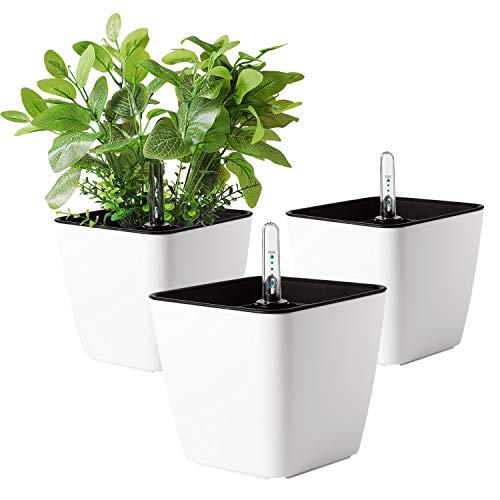 T4U 13cm Klein Plastik Selbstbewässerung Blumentopf Eckig Weiß mit Wasseranzeiger 3er-Set für Miniaturpflanzen