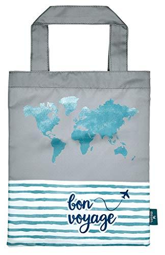 moses. Fernweh Büchertasche Bon Voyage | Wasserabweisende Tragetasche | Für Buchliebhaber Taschenorganizer, 24 cm, Grau