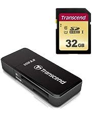 Transcend USB 3.0 Super Speed カードリーダー TS-RDF5K ブラック + SDHCカード 32GB MLC NAND 採用 UHS-I Class10 TS32GSDC500S-E