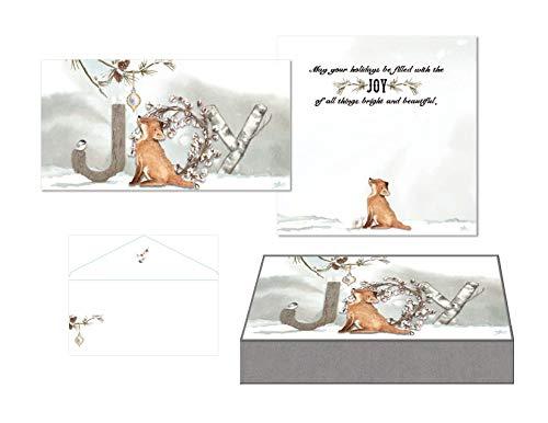 LPG PERFORMING ARTS BOXED CHRISTMAS CARDS JOY Fox Mini Long Glitter Christmas Cards, Full Color Designed Envelopes, Beautiful Keepsake Box (14 glitter cards, 14 coordinating envelopes) (85001)