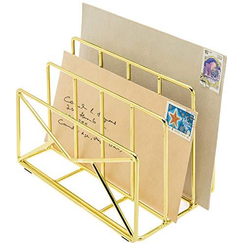 MyGift 3-Slot Modern Envelope-Shaped Brass Plated Metal Wire Desktop Mail Sorter/Letter Holder Organizer Rack