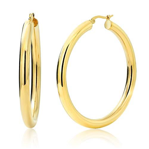 Gem Stone King 2 Inches Wide Stainless Steel Yellow Hoop Earrings