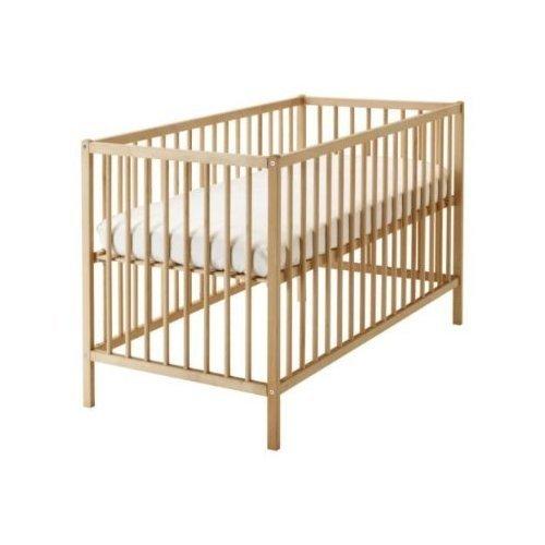 2 XIKEA verstelbaar babybed 'SNIGLAR' bedje in 60 x 120 cm - roosterbed van massief beuken - in hoogte verstelbaar