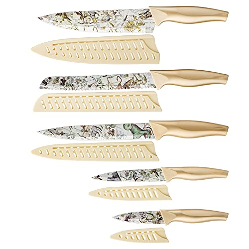 Knife Set, 5-piece Kitchen Knife Set Nonstick Coated with 5 Knife Sheath Covers