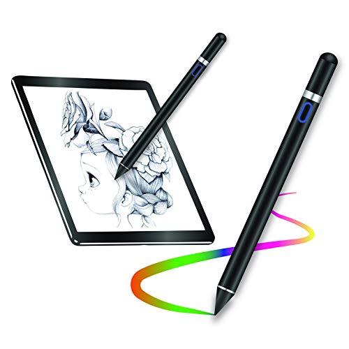 EZTecho Stylus Pen Activo Universal Stylus para Pantallas táctiles 2 En 1 Alta-Precisión 1.45mm Capacitiva Lápiz Ultra Fina Punta de Fibra para Dispositivos de Táctil, iOS / Android / Windows /Tablet/ iPad/ iPhone, Samsung And more (Negro)